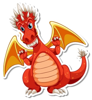 Roter drache-cartoon-charakter-aufkleber