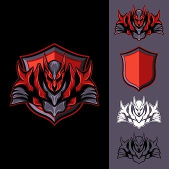 Roter dunkler ritter: logo e-sport gaming