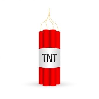 Roter dynamitpack mit elektrischer zeitbombe, tnt
