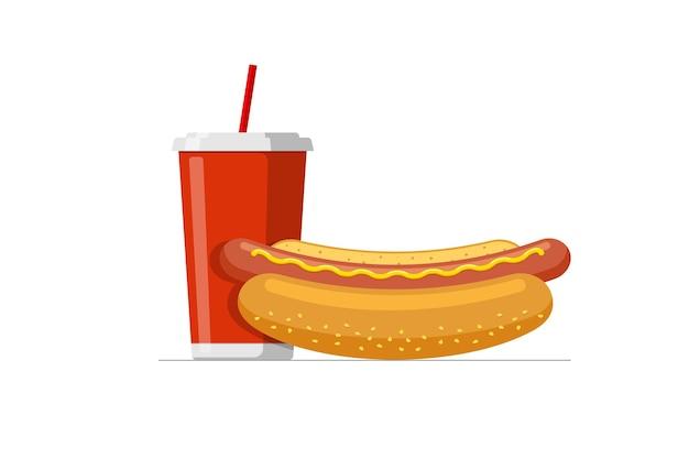 Roter einweg-pappbecher mit trinkhalm für soda- oder saftcocktail und cartoon-fast-food heiß