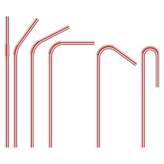 Roter einweg-trinkhalm aus kunststoff