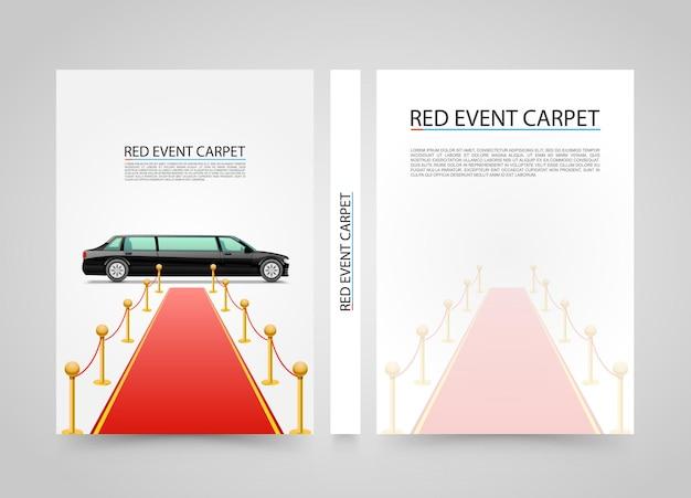 Roter event-teppich isoliert auf weißem hintergrund. deckblatt im a4-format, vektorillustration
