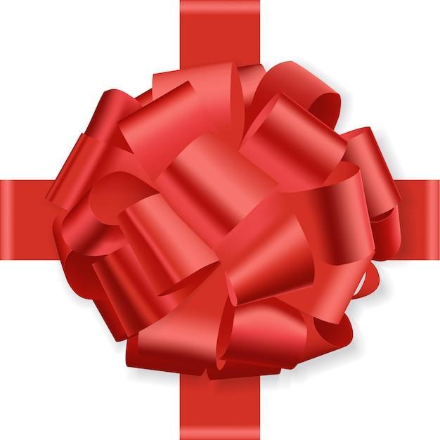 Roter feiertagsbogen auf weißem hintergrundgeschenk