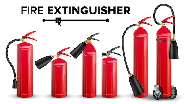 Roter feuerlöscher-vektor. metallroter feuerlöscher lokalisierte illustration