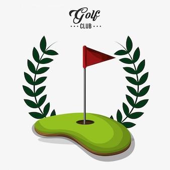 Roter flaggenfeldaufkleber des golfclubs