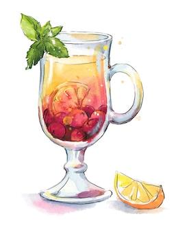 Roter früchtetee mit zitrone und minze serviert in transparenter tasse, handgemalte aquarellillustration