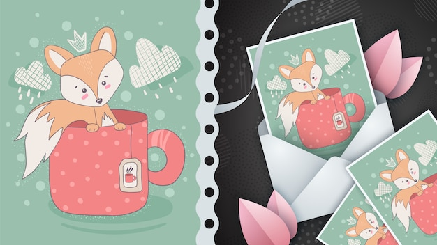 Roter fuchs für grußkarte und illustration