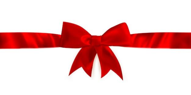 Roter geschenkbogen und -band.