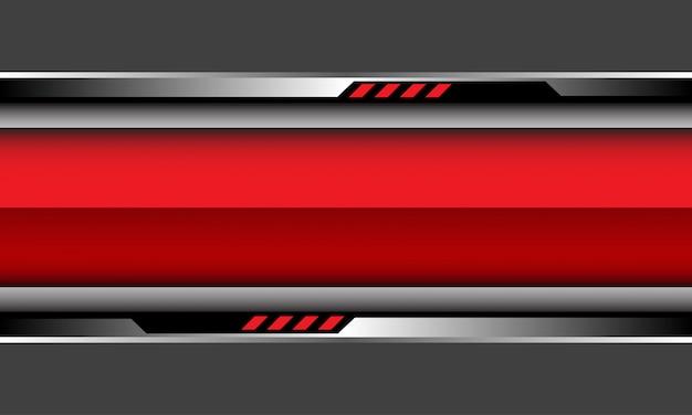 Roter glänzender banner silberne schwarze cyberschaltung auf grauem futuristischem hintergrund.