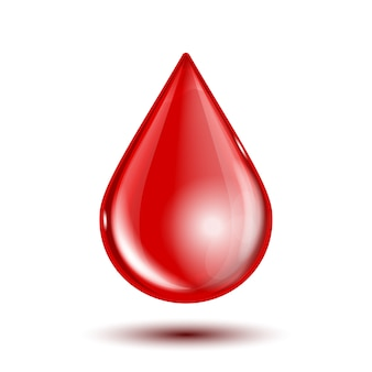 Roter glänzender blutstropfen lokalisiert auf weißem hintergrund. illustration