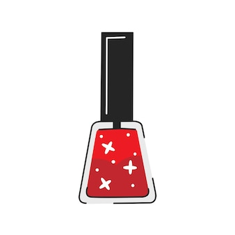 Roter glitzer-nagellack im niedlichen cartoon-stil vektor-illustration isoliert auf weißem hintergrund