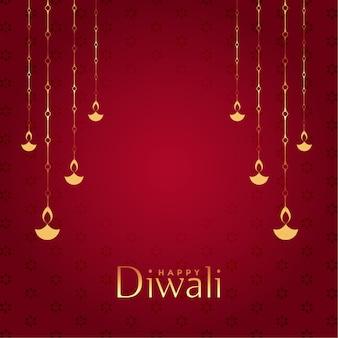 Roter glücklicher diwali dekorativer hintergrund