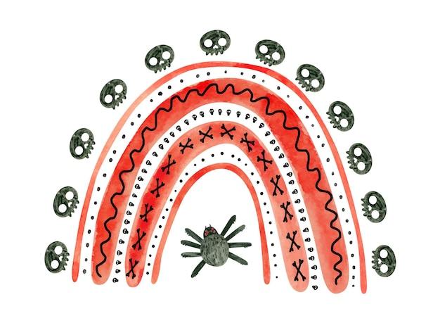 Roter halloween-regenbogen mit spinnen und schädeln. niedliche aquarellillustration für kinder halloween.