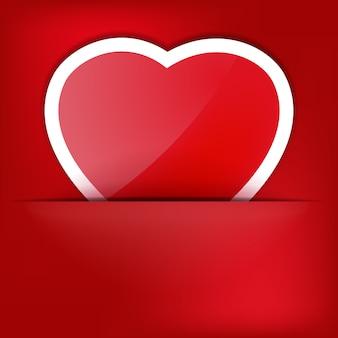 Roter herz-papieraufkleber mit schatten-valentinstag.