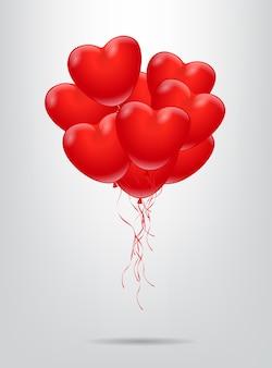 Roter herzformballonbündel.