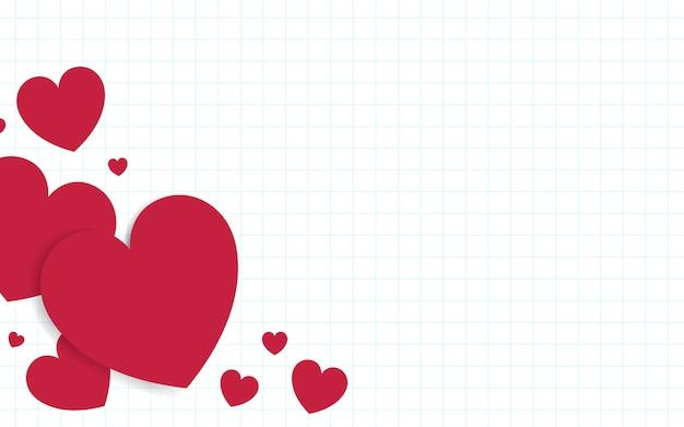 Roter herzhintergrund-designvektor