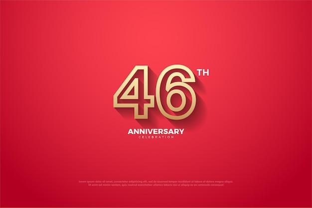 Roter hintergrund der 46-jährigen jubiläumsfeier und gestreifte zahlen