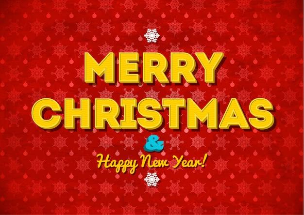 Roter hintergrund der frohen weihnachten der weinlese mit beschriftung