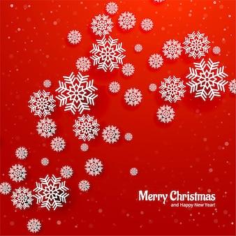 Roter hintergrund der schönen weihnachtsschneeflackekarte