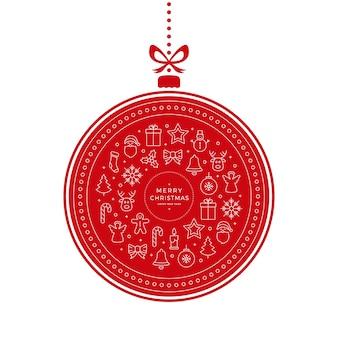Roter hintergrund der weihnachtsflitterikonenelemente