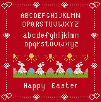 Roter hintergrund des frohen osters mit schrift und kaninchen. stricknahtmuster mit osterhasen und eiern im gras. illustration.