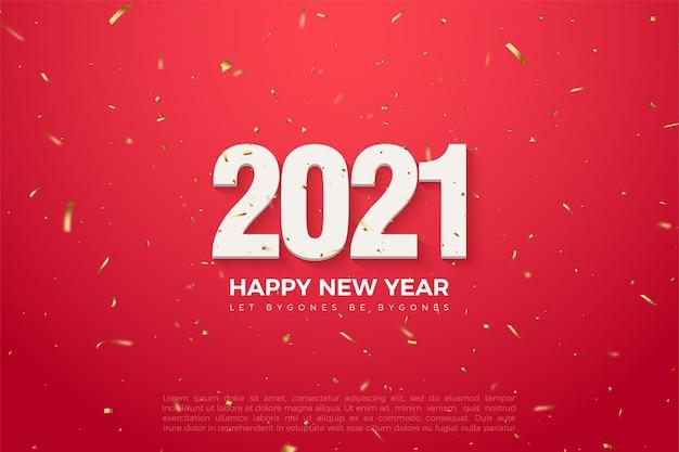 Roter hintergrund des glücklichen neuen jahres 2021 mit goldenem spritzer und zahlenillustration