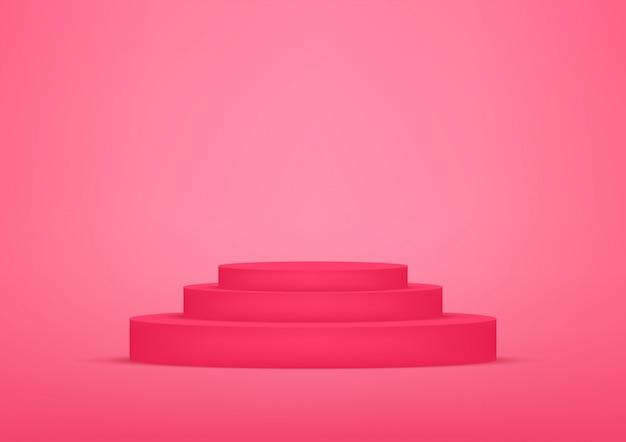 Roter hintergrund des leeren podeststudios für produktanzeige mit kopienraum.