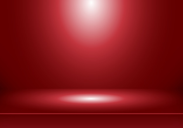 Roter hintergrund des raumes des studios 3d