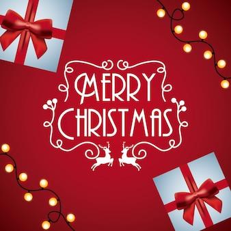 Roter hintergrund des roten hintergrundes der karte des weihnachtseinladungsgeschenk-lichtglühens