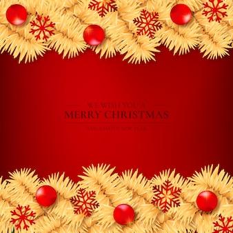 Roter hintergrund mit goldenen weihnachtsbaum-niederlassungen