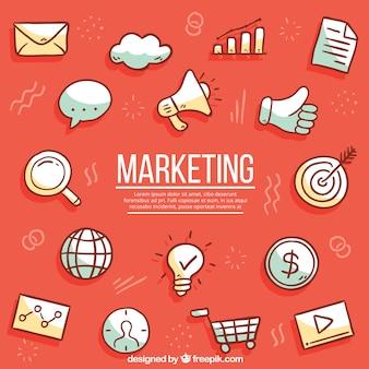 Roter hintergrund mit marketing-elementen