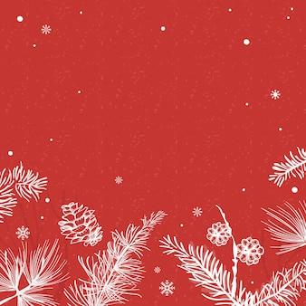 Roter hintergrund mit winterdekorationsvektor