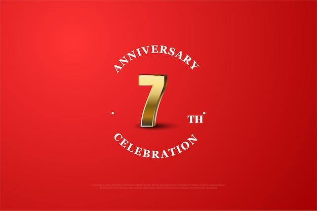 Roter hintergrund zum siebten jahrestag mit goldnummern