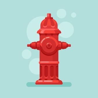 Roter hydrant im flachen stil.