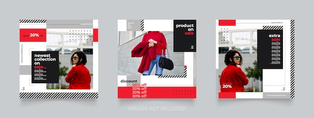 Roter instagram-beitrag oder banner des modeverkaufs
