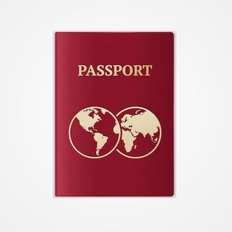 Roter internationaler pass mit karte lokalisiert auf weißem hintergrund.