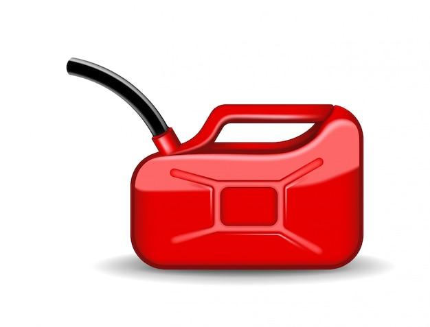 Roter kanister mit motoröl oder erdöl auf weiß. behälter mit kraftstoffillustration im realistischen stil. kraft und energie