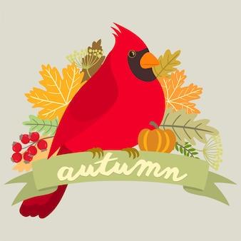 Roter kardinal auf einer herbstfahne