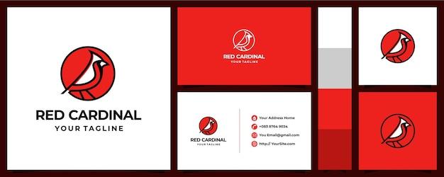 Roter kardinal-logoentwurf mit visitenkartenkonzept