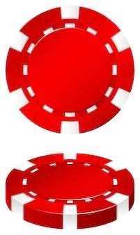 Roter kasinochip auf weiß