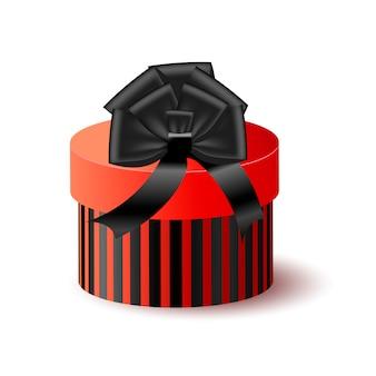 Roter kasten 3d der runden verpackung mit schwarzem bogen und band