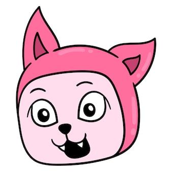 Roter katzenkopf lächelt, emoticon des vektorillustrationskartons. gekritzelsymbol-zeichnung