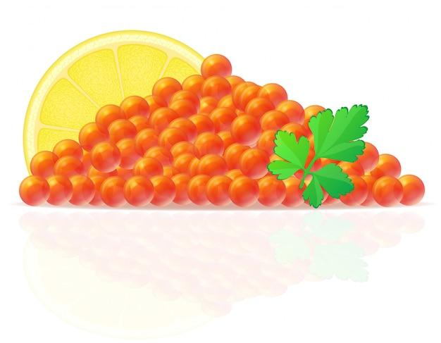 Roter kaviar mit zitronen- und petersilienvektorillustration