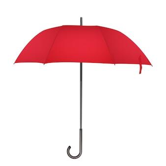 Roter klassischer regenschirm. foto realistische elegante regenschirmikonenillustration