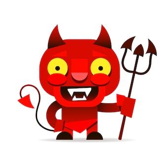 Roter kobold mit einem fröhlichen lächeln und einem dreizack