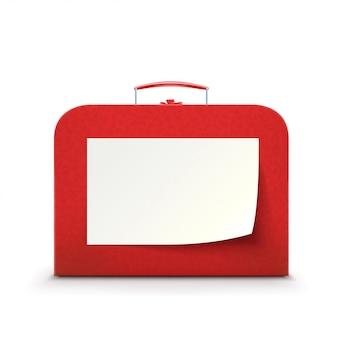 Roter koffer auf weißem hintergrund