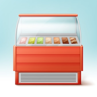 Roter kühlschrank für eiscreme mit verschiedenen geschmacksrichtungen isoliert
