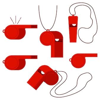 Roter kunststoff sport schiedsrichter pfeife vektor icon set isoliert auf weißem hintergrund