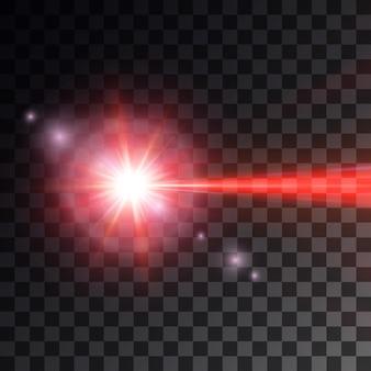 Roter laserstrahl auf dunklem hintergrund