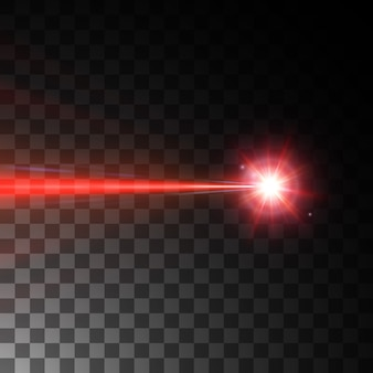 Roter laserstrahl lokalisiert auf schwarzem hintergrund